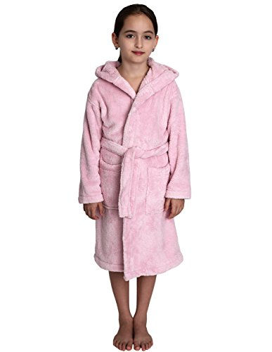 TowelSelections Big Girls' Robe, Kids Plush Hooded Fleece Bathrobe Size 14 Ice Pink (Ice Bath Have)