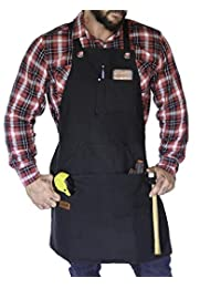 HUNTR Work Apron - Heavy Duty Waxed Canvas Shop, BBQ Apron, Light Weight with Large Pockets - Fully Adjustable S to XXL
