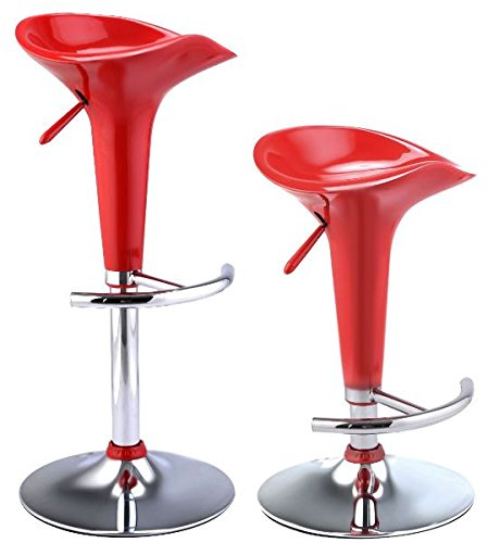 K&A Company Bar Pu Swivel Leather Adjustable Hydraulic Chair Barstools Stools Modern Pub Counter Seat Chairs Set of 2 Bombo Style Red