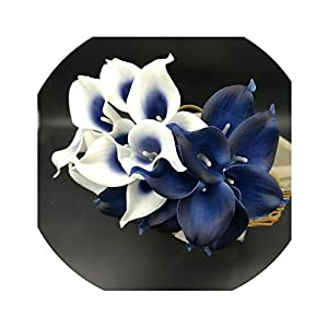 Lucky-fairy Artificial-Flowersnavy Blue Picasso Calla Lilies Real Touch Flowers for Wedding Bouquets Centerpieces Artificial Flowers for Wedding 45