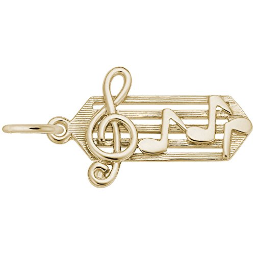 Music Staff Charm In 14k Yellow Gold, Charms for Bracelets and Necklaces