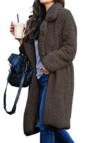 Angashion Women's Fuzzy Fleece Lapel Open Front Long Cardigan Coat Faux Fur Warm Winter Outwear Jackets with Pockets Dark Grey 3XL
