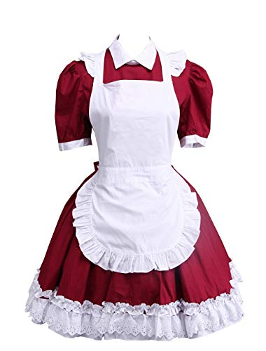 Antaina Red Cotton White Apron Ruffle Sweet Victorian Maid Lolita Cosplay Dress,M
