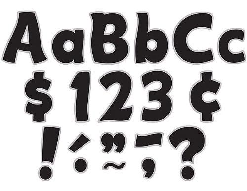 Teacher Created Resources Black & Silver Funtastic Font 4-Inch Letters Combo Pack - Black Letter Silver