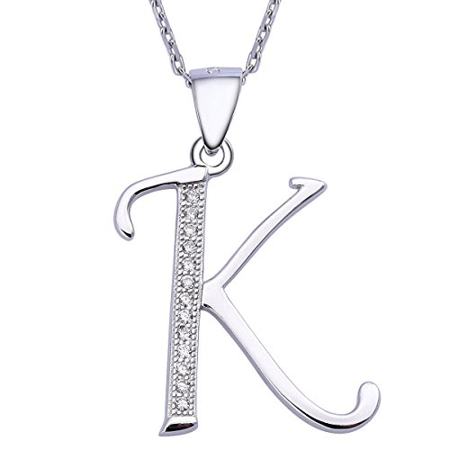 Initial Sterling Necklace Zirconia Personalized