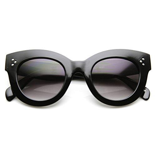 zeroUV - High Fashion Bold Thick Oversized Chunky Horn Rimmed Sunglasses (Black - Chunky Glasses Black