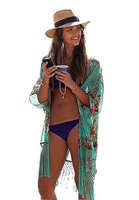 SYNN Summer Swimming Beach Cover Up Women Boho Chiffon Kimono Cover-UPS Cardigan for Bikini