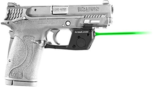 - ArmaLaser TR28G S&W M&P 380 Shield EZ Ultra Bright Green Laser Sight Grip Activation Smith and Wesson