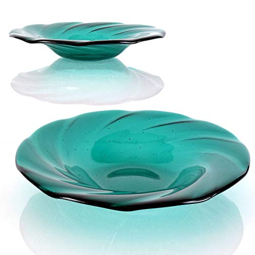Teal Green Cathedral Fused Glass Art Fruit Bowl Centerpiece for $<!--$55.00-->
