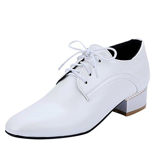 Mee Shoes Damen chunky heels vierkant Schnürhalbschuhe Weiß