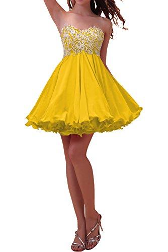 Spitze Linie Partykleider Traegerlos A Damen Chiffon Tanzenkleider Ballkleider Beliebt Kurz Gelb Abendkleider Ivydressing fFgZqxK