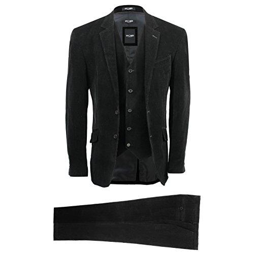 XPOSED Mens 3 Piece Black Corduroy Suit Vintage Smart Casual Tailored Fit Velvet Blazer Coat Set [Black,Chest UK 50 EU 60,Trouser 44