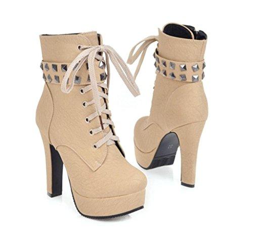 sich oben Plattform Stiefel Modeschuhe Knöchel Plattform schnüren MNII Yellow Damen Absatz Frauen Aufladungen 0qW4wZ