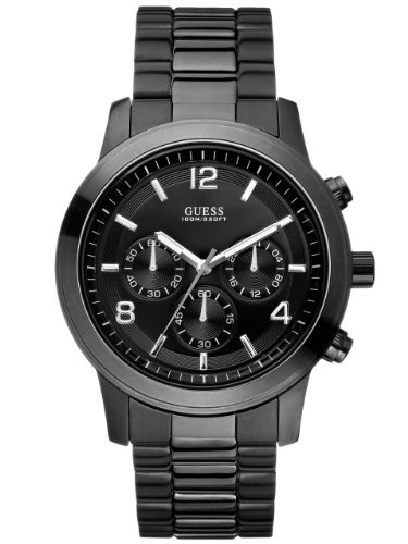 GUESS-Mens-U15061G1-Sporty-Black-Stainless-Steel-Watch-with-Chronograph-Dial-and-Deployment-Buckle
