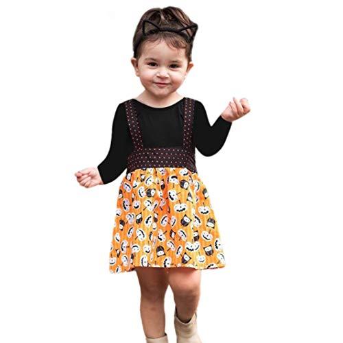 Newborn Baby Girls Solid Tops Pumpkin Prin Overall Skirt Halloween Clothes Sets -