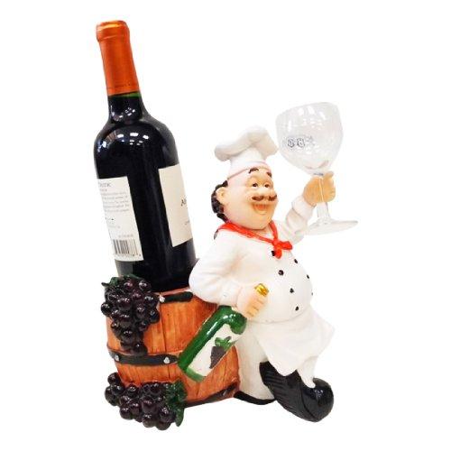 Chef Wine Holder Statue 10 Inch Tall