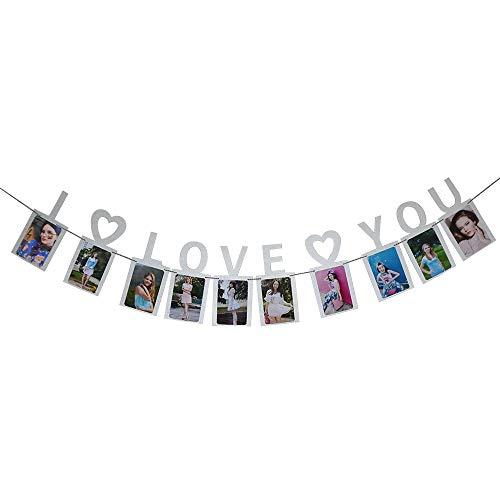 (Hatcher lee I Love You Photo Banner Silver Foiled for Wedding Sign Bridal Shower Banner Hen Night Bunting)