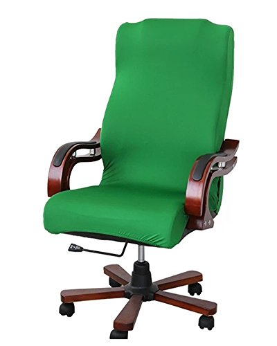 Deisy Dee Slipcovers Cloth Universal Computer Office Rotating Stretch Polyester Desk Chair Cover C064 (green)