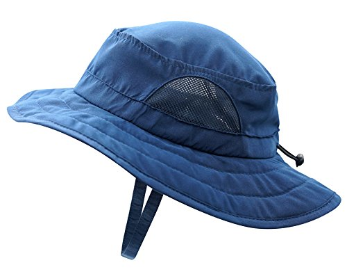 Connectyle Kids UPF 50+ Mesh Safari Sun Hat UV Sun Protection Hat Summer Daily Bucket Play Hat Navy ()