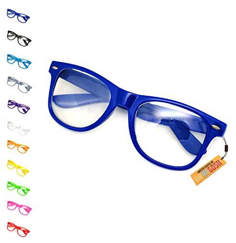 Fake Nerd Costume Glasses - 11 Colors Men, Women, Children #1 Oversized Fashion Glasses US of OMG (Navy Blue) ()