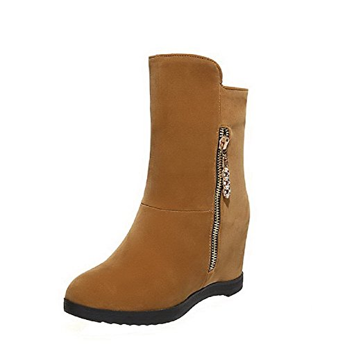 Boots Zipper Low top Suede Solid Women's Imitated Yellow Heels High AgooLar zwqO6R7yxy