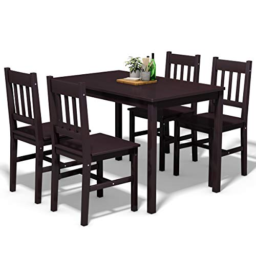 (Giantex 5 Piece Wood Dining Table Set 4 Chairs Home Kitchen Breakfast Furniture (Brown) )
