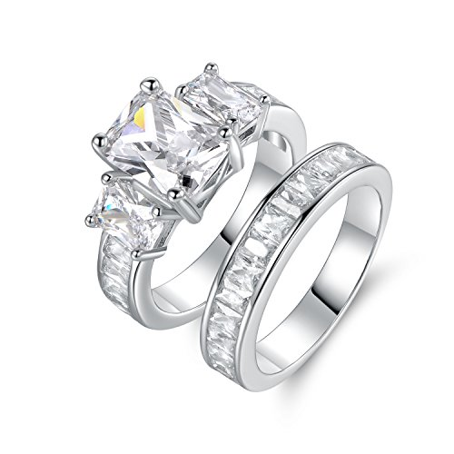 Barzel Rhodium Plated Cubic Zirconia Princess-Cut Ring Set, White, (6)