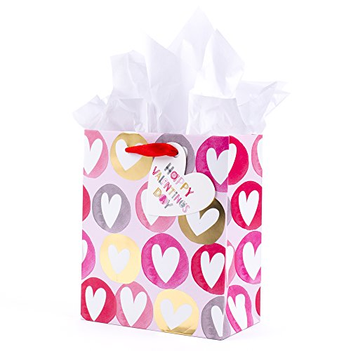 Hallmark Small Valentine's Day Gift Bag with Tissue Paper (Heart In Dots On -