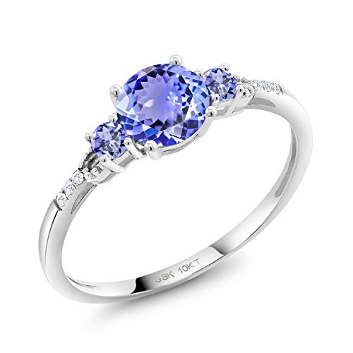 Gem Stone King 1.09 Ct Round Blue Tanzanite 10K White Gold Lab Grown Diamond Ring (Size - Ring Diamond Tanzanite Round