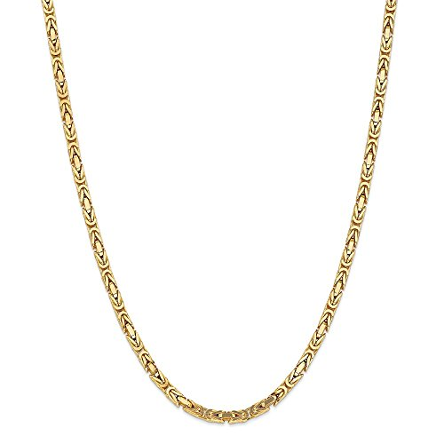 - Mia Diamonds 14k Solid Yellow Gold 4mm Byzantine Necklace Chain (24in x 4mm)