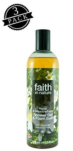 Faith in Nature Shower Gel & Foam Bath, Hemp & Meadowfoam (400 ml Bottle, 3-Pack); All-Natural Bath & Body Bubbles w/Ginger and Citrus Pure Essential Oils, Vegan and -