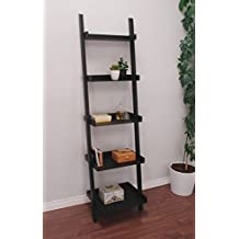 nexxt Hadfield 5-Tier Leaning Wall Shelf, 18-Inch By 67-Inch, Black