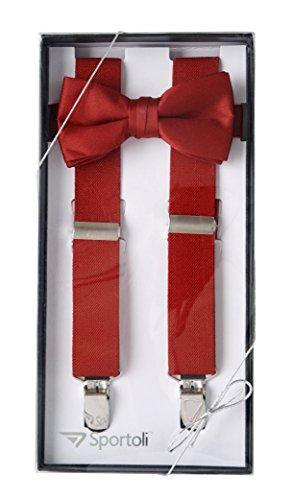 Suspenders for Kids Gift Set Wedding Tuxedo Genuine Leather Premium 1 Inch Suspender -Red (30 Inch)