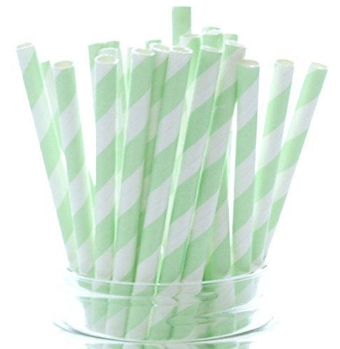 Mint Green Party Straws - 25 Pack - Pastel Color Wedding Supplies, Light Green Paper Drinking Straws, Mint Green Striped - Buffet Plate Green