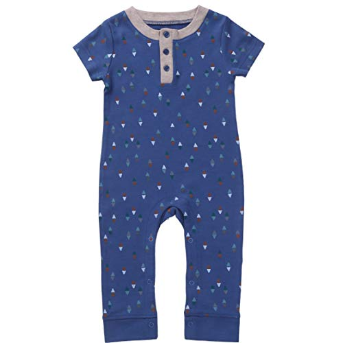 o 3-6: Baby Boy Romper Overall Sleep n Play Jumper Newborn Infant Clothes 3-6 Month Indigo Blue