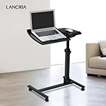 LANGRIA Laptop Table Mobile Desk Cart Adjustable Laptop Cart Portable Black Computer Desk, 360° Swivel and 180° Tilt Spliting Laptop Stand, Height Adjustable 23.6 to 35.4 inches, Lockable Casters