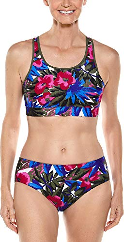 Reversible Knit Top - Coolibar UPF 50+ Women's Medley Swim Bra - Sun Protective (Large- Multicolor Paradise Floral)