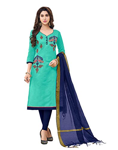 (Viva N Diva Women's Sea Green Modal Cotton Embroidered Dress Material with Banarasi Woven Dupatta Un-Stitched Salwar Suit,Free Size)