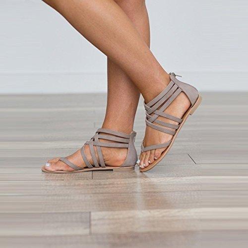 Código Fondo De Cómodas Mujer Pink Los Verano Roma Fondo De Zapatos Ocio Plano Dedos Plano De WHLShoes y Sandalias De De Pies para Chanclas Mujer Gran De Moda Los 0BOaS