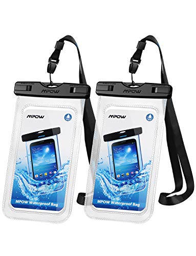 Mpow 097 Universal Waterproof Case, IPX8 Waterproof Phone Pouch Dry Bag Compatible for iPhone Xs Max/XR/X/8/8P/7/7P Galaxy up to 6.5', Protective Pouch for Pools Beach Kayaking Travel or Bath (2-Pack)