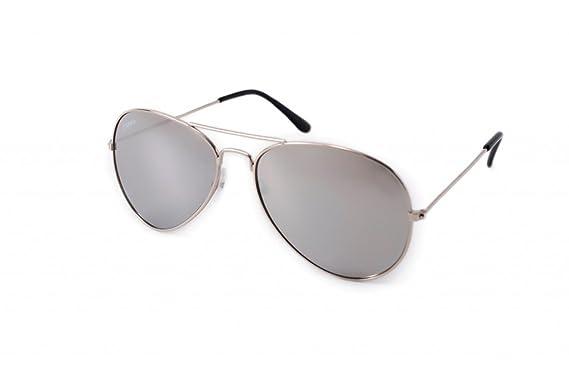 Gafas de sol CARMA modelo Aviador Silver plateadas: Amazon ...