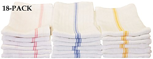 Keeble Outlets 18-pack Tea Towels - Includes (6 Each) Blue Stripe, Gold Stripe and Red Stripe 100% Cotton, 24