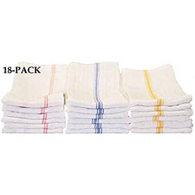 18-pack Tea Towels - Includes (6 Each) Blue Stripe, Gold Stripe and Red Stripe 100% Cotton, 24 Oz, Professional Grade Kitchen Towels with Herringbone Weave for Exceptional Absorption.