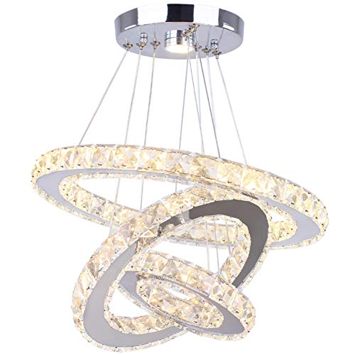Dixun LED Chandeliers Modern Crystal 3 Rings Ceiling Lighting Fixture Adjustable Stainless Steel Pendant Light for…