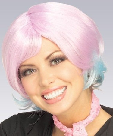 Cute 90s Costumes (Cute Pink/Blue Clubbing Short 90s Halloween Costume Wig Adult)