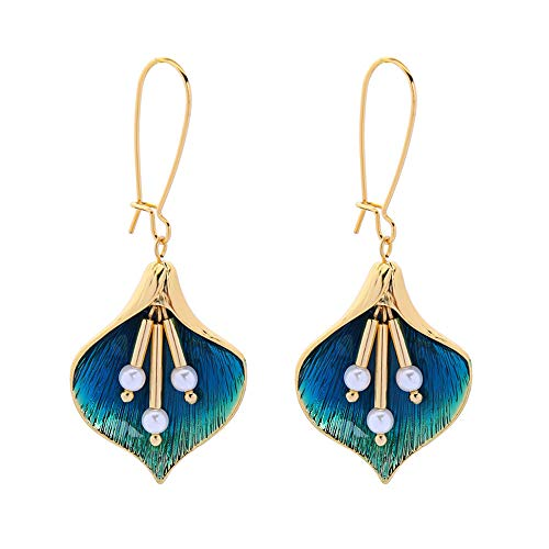 Gold Plated Enameled Calla Lily Flower Dangle Earrings perfect for Summer Beach Vacation - Gold Plated Lily