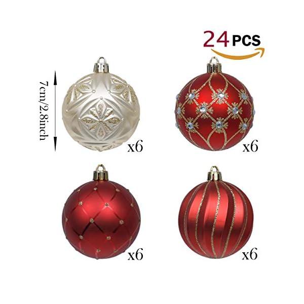 Valery Madelyn Palle di Natale 24 Pezzi 7cm Palline di Natale, Ornamenti di Palla di Natale Infrangibili di Lusso Rosso e Oro per la Decorazione Dell'Albero di Natale 3 spesavip
