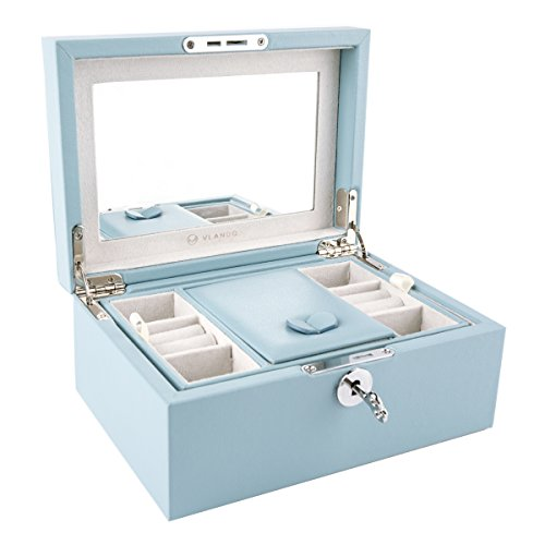 Vlando Retro Lockable Wooden Jewelry Box Organizer, Large Mirrored Jewelries Storage Holder with Key - Microfiber PU Leather Case - Best Gifts for Women Girls, Air Blue (Box Small Mirrored Jewelry)