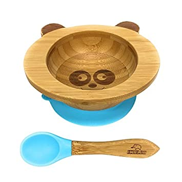 Cups, Dishes & Utensils Baby Plates Bowl Bamboo Baby Eating Flatware Set W/ Spoon Blue Kitchenware Feeding