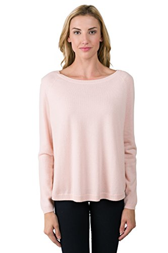 J CASHMERE Women's 100% Cashmere Oversized Long Sleeve Raglan Boatneck Sweater (Oversized Boatneck Sweater)